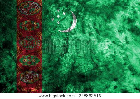 Turkmenistan Grunge Flag On Old Dirty Wall