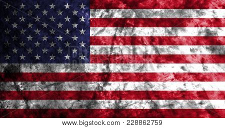 United States Of America Grunge Flag On Old Dirty Wall, American Flag, Usa Flag