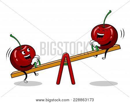 Cherry On Seesaw Teeter Totter Board Pop Art Retro Vector Illustration. Cartoon Food Character. Isol