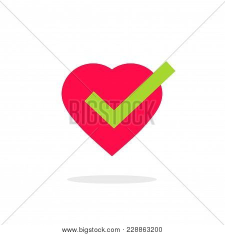Heart Tick Icon Vector Illustration Isolated, Cartoon Flat Healthy Heart With Checkmark Symbol, Idea