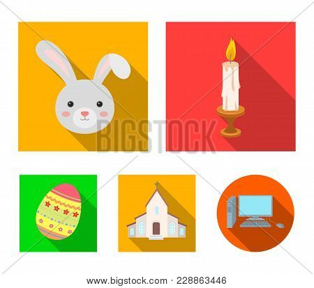 Church, Candle, Easter Bunny And Painted Egg.easter Set Collection Icons In Flat Style Vector Symbol