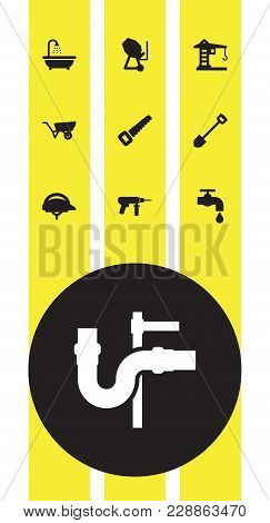 Set Of 10 Work Icons Set. Collection Of Building Machinery, Spade, Hacksaw And Other Elements.