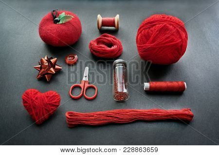 Red Sewing Kit Accessories And Equipment For Sewing And Needlework. Various Tools For Needlework: Pi
