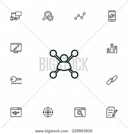 Set Of 13 Optimization Icons Line Style Set. Collection Of Columns, Application Analytics, Copyright