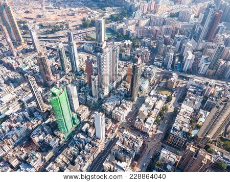 Aerial view of residential district in Hong Kong