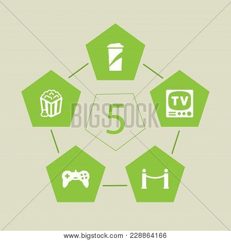 Set Of 5 Amusement Icons Set. Collection Of Soft Drink, Popcorn, Tv Set And Other Elements.