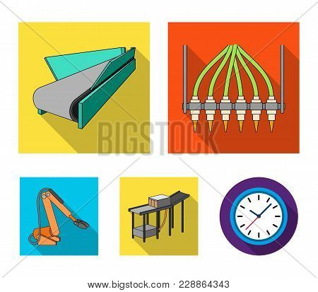 Modern Equipment And Other  Icon In Flat Style.machine Tools And Equipment Factory Icons In Set Coll