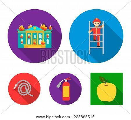 Fireman On The Stairs, Burning Building, Fire Extinguisher, Hose. Fire Department Set Collection Ico