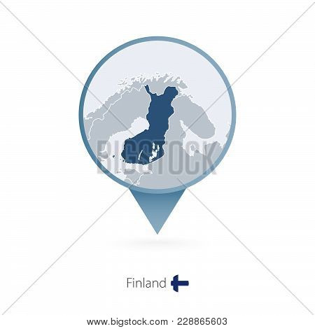 Map Pin With Detailed Map Of Finland And Neighboring Countries.