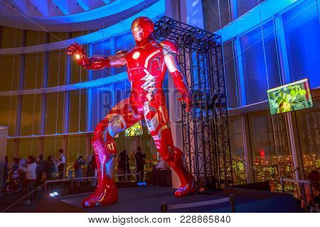 Tokyo, Japan - April 20, 2017: A Gigantic Statue Of Iron Man Of Marvel Age Of Heroes Exhibition, At