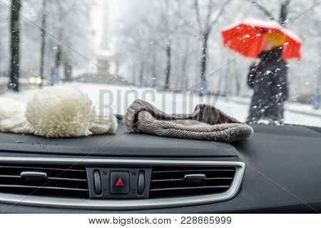 Conceptional Winter Shot Of Beanies In A Car Behind The Front Window While Lady With Red Umbrella Wa