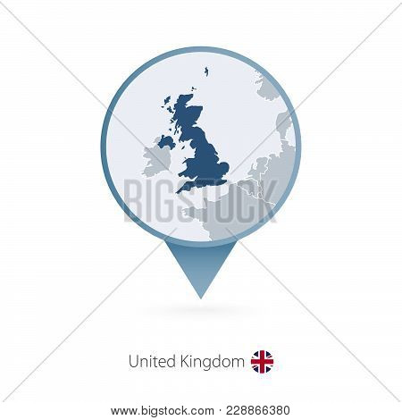 Map Pin With Detailed Map Of United Kingdom And Neighboring Countries.