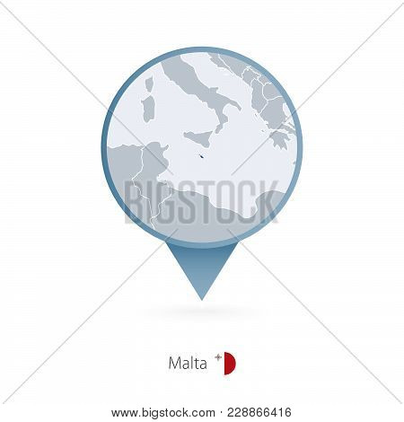 Map Pin With Detailed Map Of Malta And Neighboring Countries.
