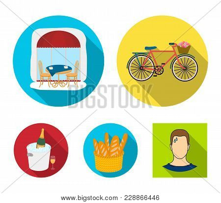 Bicycle, Transport, Vehicle, Cafe .france Country Set Collection Icons In Flat Style Vector Symbol S