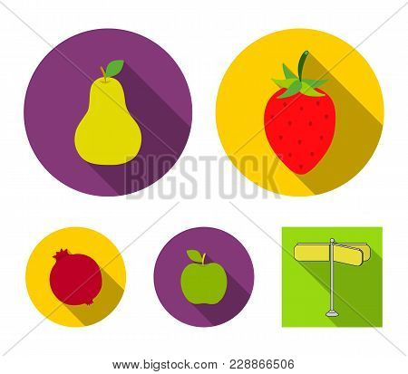Strawberry, Pear, Apple, Pomegranate.fruits Set Collection Icons In Flat Style Vector Symbol Stock I