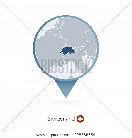 Map Pin With Detailed Map Of Switzerland And Neighboring Countries.