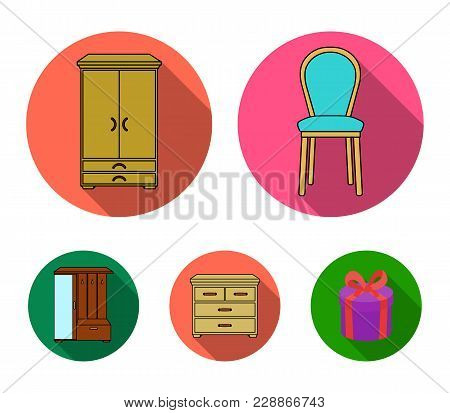 Armchair, Cabinet, Bedside, Table .furniture And Home Interiorset Collection Icons In Flat Style Vec
