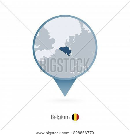 Map Pin With Detailed Map Of Belgium And Neighboring Countries.