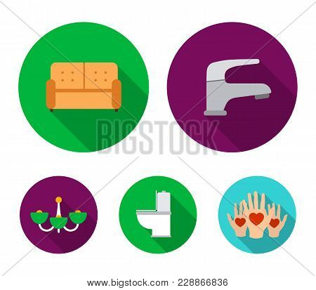 Crane, Sofa, Toilet, Chandelier.furniture Set Collection Icons In Flat Style Vector Symbol Stock Ill
