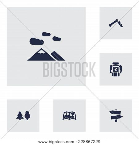 Set Of 6 Camping Icons Set. Collection Of Forest, Baggage, Guidepost And Other Elements.