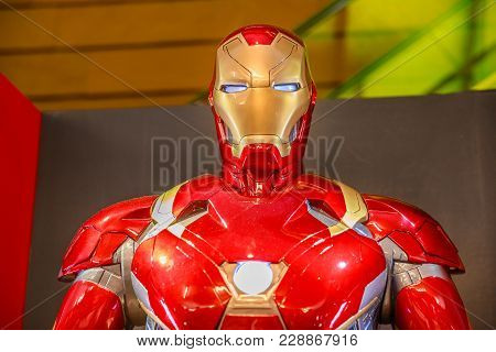 Tokyo, Japan - April 20, 2017: Portrait Of Iron Man Statue Character Of Marvel At Exhibition In Mori