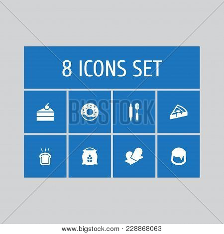 Set Of 8 Pastry Icons Set. Collection Of Doughnut, Custard, Sweetmeat And Other Elements.