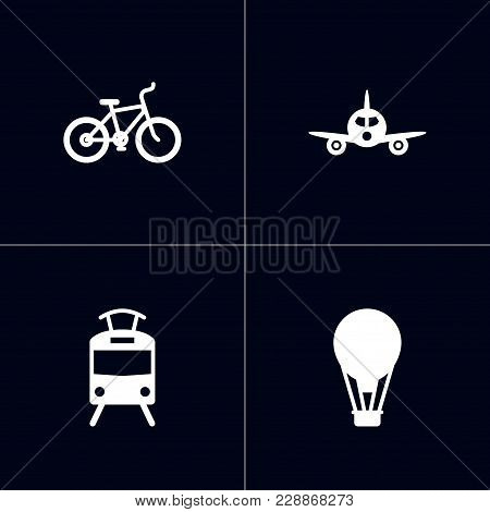 Set Of 4 Transport Icons Set. Collection Of Streetcar, Bicycle, Aircraft And Other Elements.