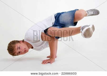 Teen B-boy Standing In Freeze On White