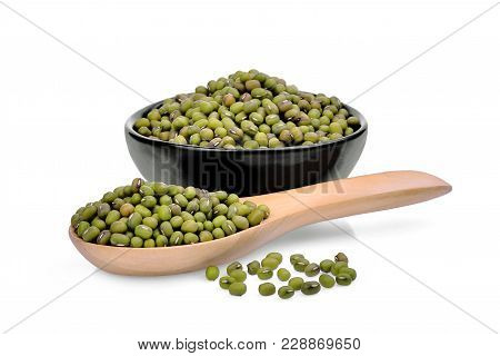 Mung Beans In Wooden Spoon And Black Bowl Isolated On White Background