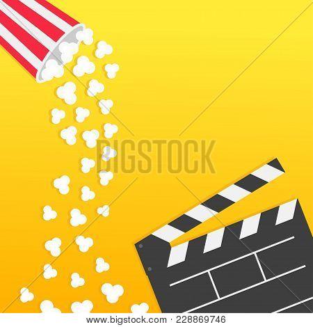 Popcorn Falling From Round Box. Open Clapper Board. Movie Cinema Icon Flat Design Style. Pop Corn Ra