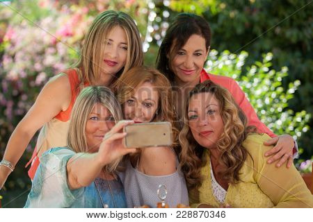 middle aged friends doing selfie photo
