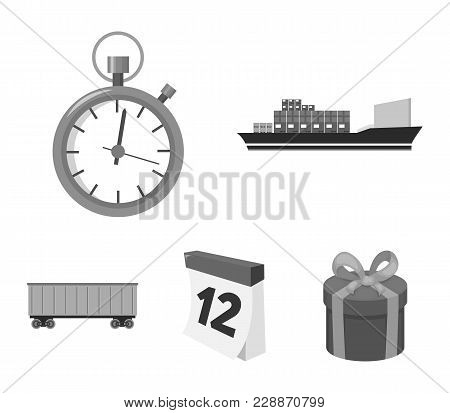 Cargo Ship, Stop Watch, Calendar, Railway Car.logistic, Set Collection Icons In Monochrome Style Vec