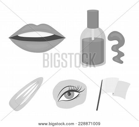 Nail Polish, Tinted Eyelashes, Lips With Lipstick, Hair Clip.makeup Set Collection Icons In Monochro
