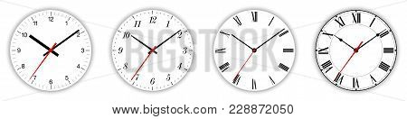 Four Different Clock Faces Over White, With Regular, Italic And Fraktur Numerals. Parts Of Analog Cl