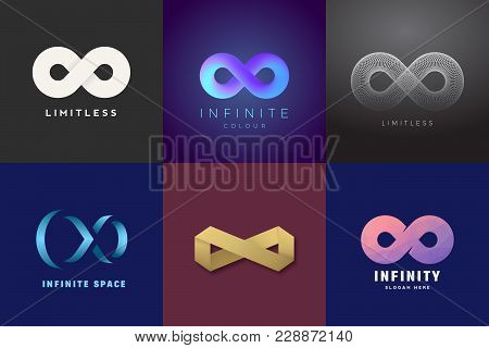 Abstract Vector Infinity Symbols Set. Modern Gradients And Typography, Soft Shadows. A Collection Of