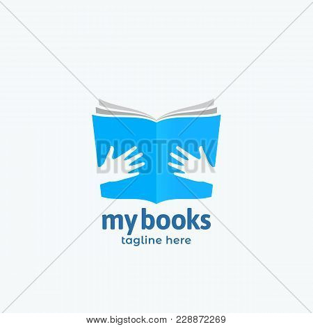 My Books Abstract Vector Sign, Emblem Or Logo Template. Open Book In Hands Symbol With Modern Typogr