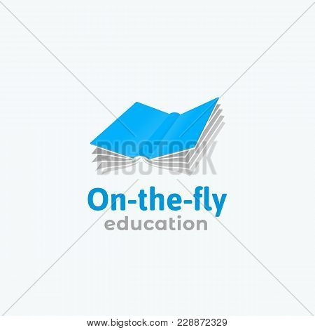 On-the-fly Education Abstract Vector Sign, Symbol Or Logo Template. Flat Style Flying Book Silhouett