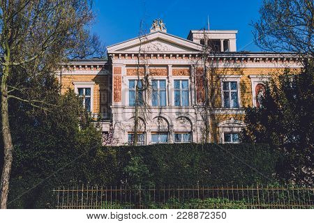 April, 9th, 2017 - Potsdam, Brandenburg, Germany. Family Mansion Building . Reach German Villa Or Vi