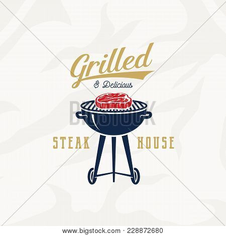 Grill Steak House Vintage Vector Label, Card, Emblem Or Logo Template. Retro Typography And Meat Tex
