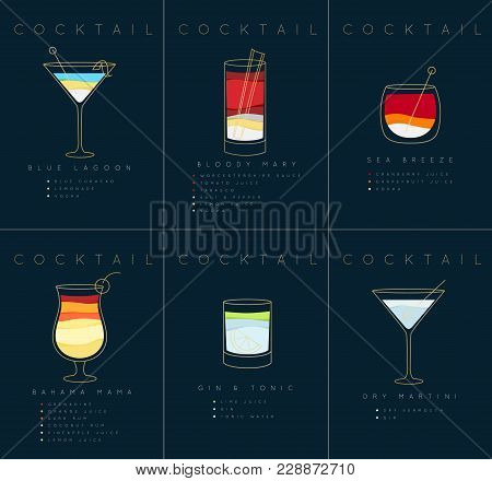 Set Of Flat Cocktail Posters Blue Lagoon, Bloody Mary, Sea Breese, Gin And Tonic, Dry Martini Drawin