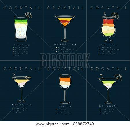 Set Of Flat Cocktail Posters Mojito, Manhattan, Mai Tai, Kamikaze, Spritz, Daiquiri Drawing On Dark