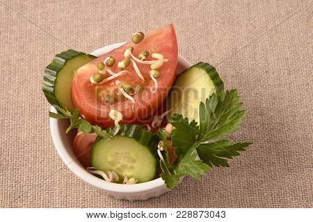 Tomatoes And Cucumbers. Fresh Salad. Neutral Background.