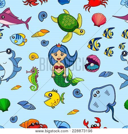 Cute Kids Fish Pattern For Girls And Boys. Colorful Fish On The Abstract Background Create A Fun Car