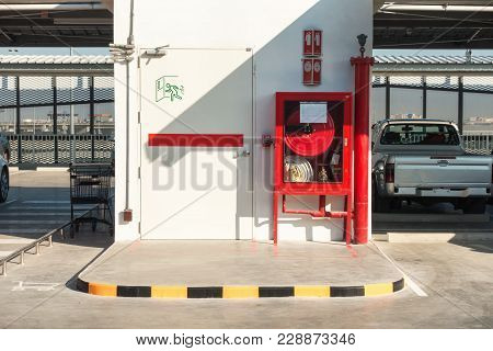 Fire Protection System And Fire Exit Door On The Decking Floor., Fire Hose Station