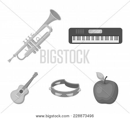Electro Organ, Trumpet, Tambourine, String Guitar. Musical Instruments Set Collection Icons In Monoc