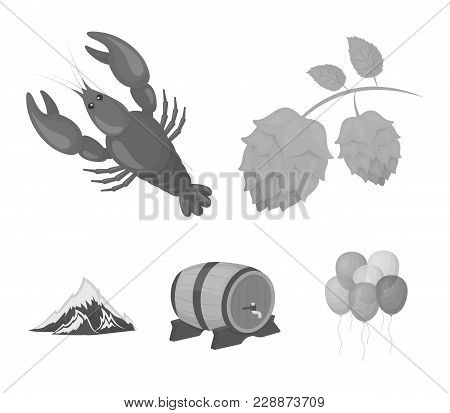 Alps, A Barrel Of Beer, Lobster, Hops. Oktoberfest Set Collection Icons In Monochrome Style Vector S