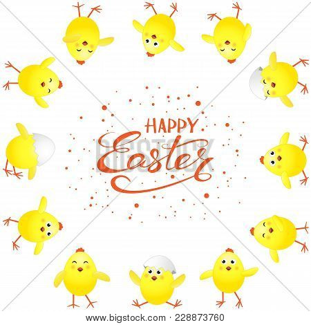 Funny Yellow Chickens And Red Holiday Lettering Happy Easter On White Background, Illustration.