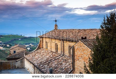 Chiesa Del Carmine. Catholic Church In Fermo Town, Region Of Marche, Italy