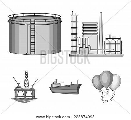 Oil Refinery, Tank, Tanker, Tower. Oil Set Collection Icons In Monochrome Style Vector Symbol Stock
