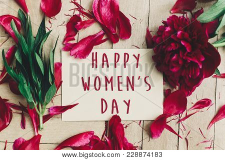 Happy Women's Day Text Sign On Craft Card And Beautiful Red Peonies On Wooden Rustic Background, Fla